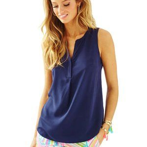 Lilly Pulitzer | Sleeveless Silk Stacey Top Navy